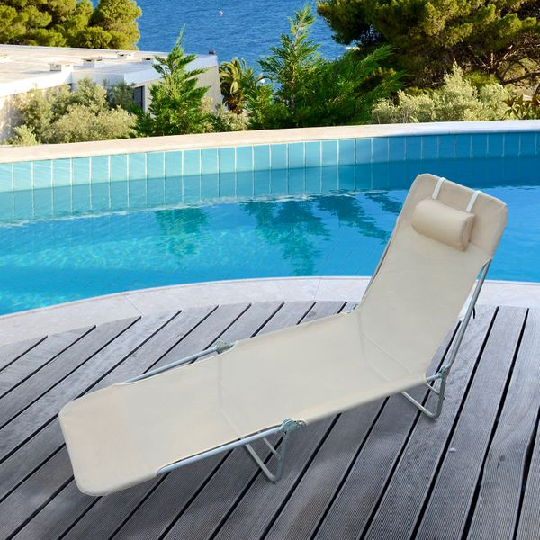 Outsunny Adjustable Back Relaxer Sun Bed Garden Lounger Recliner Chair Furniture|Aosom.ca