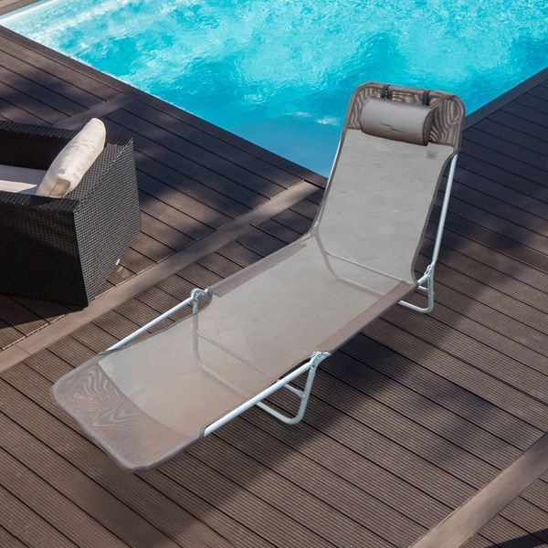 Outsunny Adjustable Sun Lounger Coffee | Aosom.ca