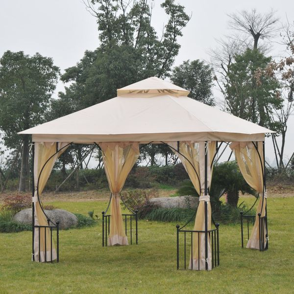 Outsunny Gazebo Canopy 10x10 Garden Patio Canopy Double Tier Outdoor Shelter with Mosquito Netting Events Party Backyard Sunshade Porch w/ Insect Screen Beige |Aosom Canada