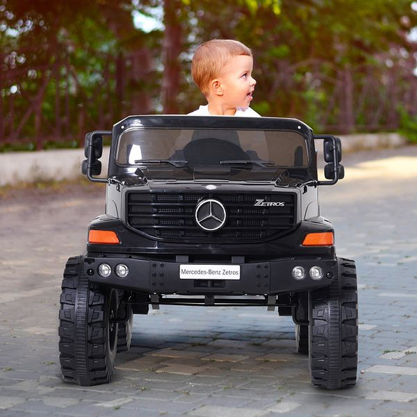Aosom Kids Mercedes-Benz Zetros Ride On Car 2.4G one- to-one remote w/ Headlights and Sound Black | Aosom Canada