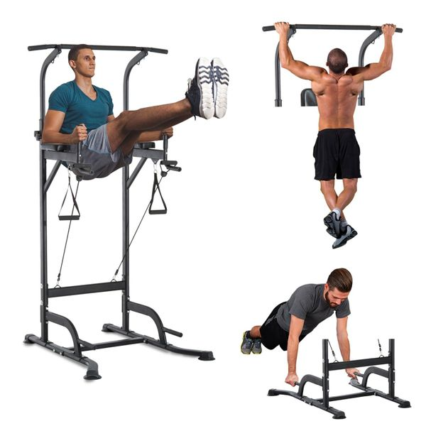 Soozier Multi-Function Power Tower Chin Up Bar Stand Dip Station Full Body Workout Training Fitness Equipment | Aosom Canada
