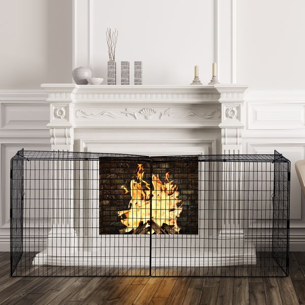Homcom Foldable Fireplace Fence Extending Fireplace Safe Guard | Aosom Canada