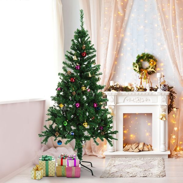 HOMCOM 6ft Decorated Christmas Tree Winter Holiday Seasonal Indoor Outdoor Artificial - Green|Aosom Canada
