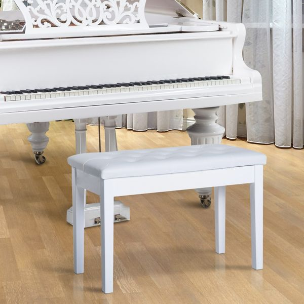 """HomCom 30"""" Faux Leather Padded Duet Piano Bench Seat w/ Music Storage White   Aosom Canada"""