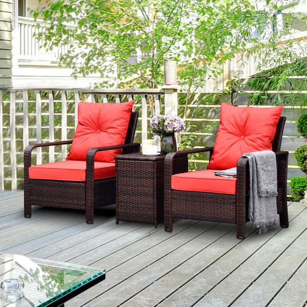 Outsunny 3 Piece PE Rattan Garden Sofa Set with 2 Padded Chairs 1 Storage Table 3pc Wicker Bistro Armchair |AOSOM.CA