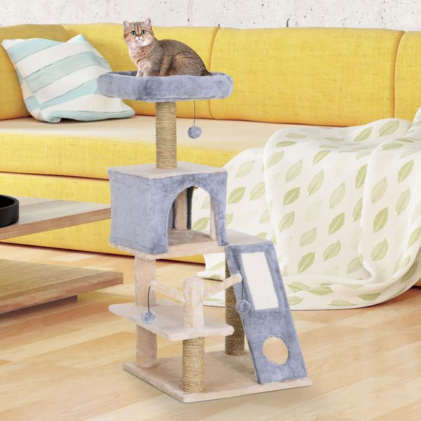 PawHut Cat Tree Tower Pet House With Cave With Natural Seaweed Scratch Posts Plush Perch  Ladder and Teasing Toy Ball Grey|AOSOM.CA