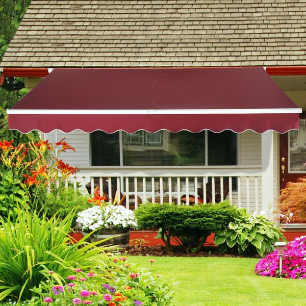 Outsunny 10x8ft Aluminum Manual Waterproof Patio Awning Retractable Sun Shade Outdoor Deck Canopy Shelter Wine Red |Aosom Canada