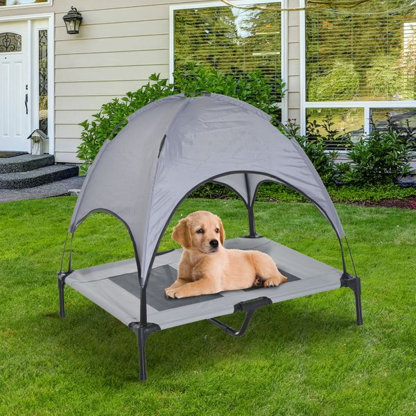 """Pawhut Large Elevated Pet Bed 6.2"""" L X 29.9"""" W 36.2"""" H Foldable Outdoor Cat Dog Canopy Cot w/ Carry Bag Grey