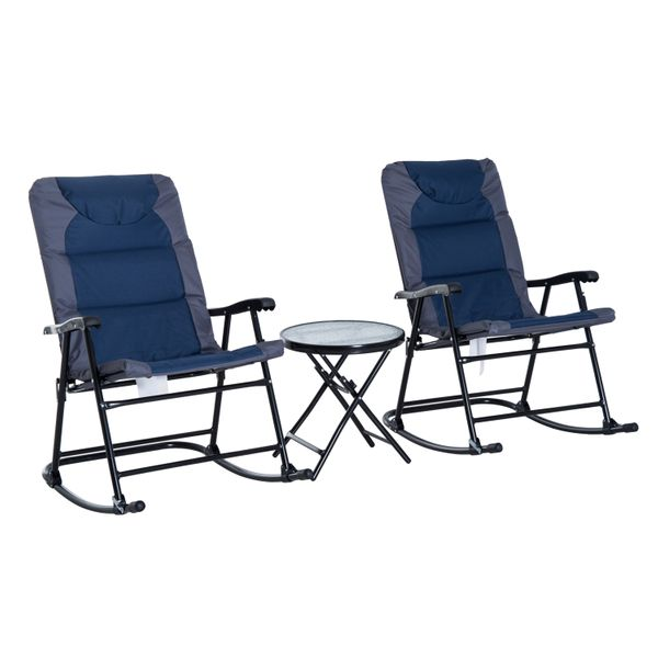 Outsunny 3pc Folding Outdoor Rocking Chair and Table Set Yard | Aosom Canada