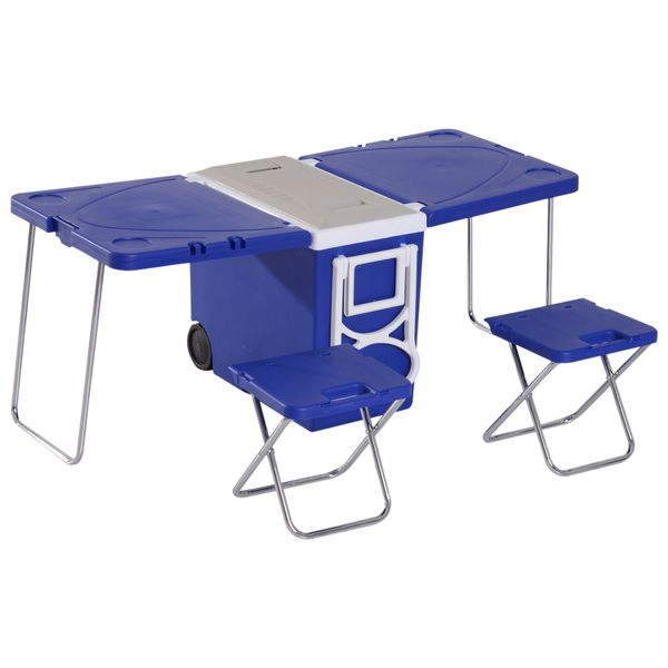 Outsunny 28L Cooler Box Folding Table Chair Set Blue|AOSOM.CA
