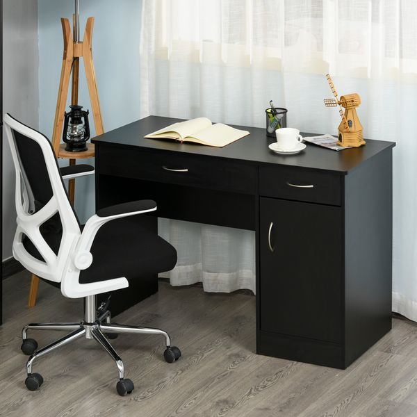 HOMCOM Stylish Computer Study Writing Desk Workstation Table with Two Drawers & Locker for Home Office & Study  Black w/ | Aosom Canada