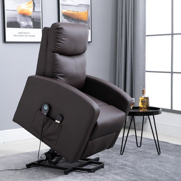 HOMCOM Lift Chair Recliner 8- Point Massage Sofa Electric Power Lift Recliner Over Padded PU Leather W/ Remote Controllers|Aosom Canada