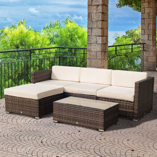 Outsunny 5PC Outdoor Modular Rattan Wicker Sofa Set Aluminum Frame Garden Sectional Patio Furniture with Table, Brown Aosom.ca