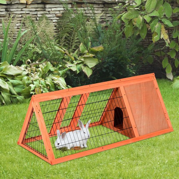 PawHut Deluxe 47ᄀᄆ Pet Rabbit Hutch Bunny Large Cage House Triangular Small Backyard Garden Wooden Animal Habitat | Aosom Canada