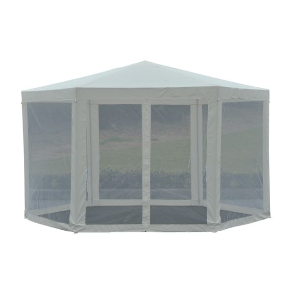 Outsunny Netting Gazebo ⌀12.8' Hexagon Waterproof Patio Garden Outdoor Party Activities Event Tent Canopy with Mesh Sidewalls Beige | Aosom Canada