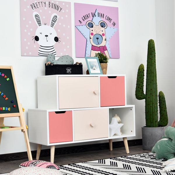 HOMCOM Large Kids Cabinet for Storage and Organization Bedroom Living Room Pink Toy Stand | Aosom Canada