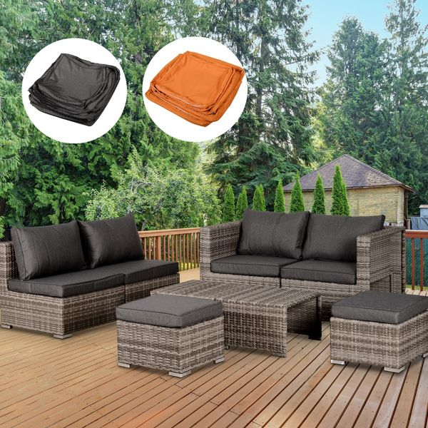 Outsunny 8pc Outdoor Patio Wicker Rattan Sofa Set Furniture Footstool w/ 2 Cover Color All Weather Chair|AOSOM.CA