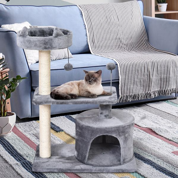 "PawHut 81cm/32"" Multi-level Cat Tree Scratcher Kitty Activity Center Condo  Perch  Jumping Platforms Toys 32""/81cm Climbing Scratching Post