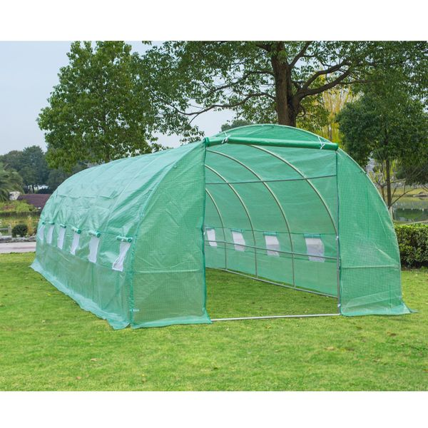 Outsunny 26.2' x10' x 6.7' Large Walk in Tunnel Greenhouse Garden Steel Frame | Aosom Canada