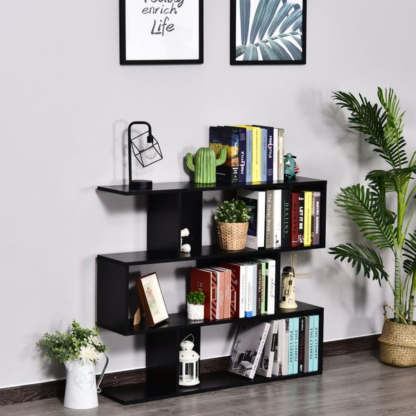 HOMCOM Versatile 3-tier Multi-Shelf Bookshelf Wood Stand Bookcase Storage Display Black|Aosom Canada