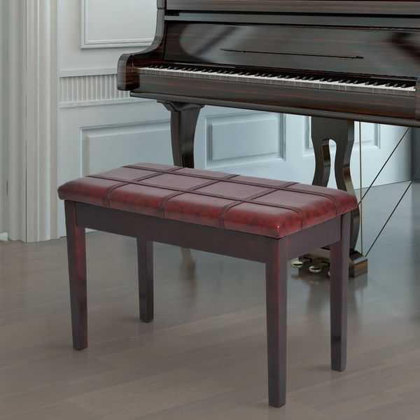 HOMCOM Two Person Duet Piano Storage Bench Birchwood Brown | Aosom Canada