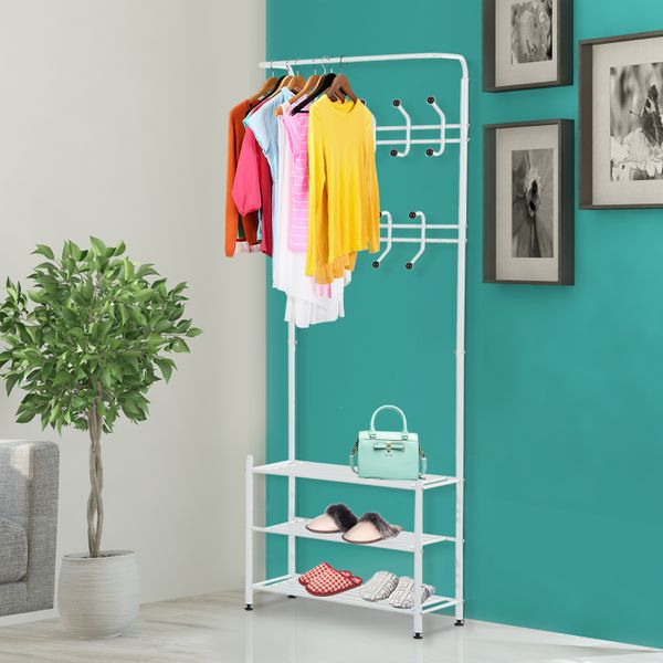 HOMCOM Heavy Metal Duty 2-In-1 Metal Clothes Coat Shoe Rack Entryway Organizer Hall Tree 18 Hooks with 3 Tier Shelves White | Aosom Canada