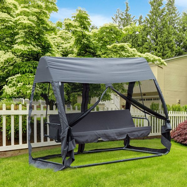 Outsunny Outdoor Convertible 3 -Seat Porch Swing Chair Bed Hammock Lounger w/Nettings Grey