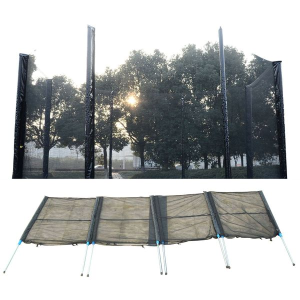 HOMCOM Trampoline Net 14ft Enclosure Safety Fence Mesh Cover w/ 8 Poles 16 Tubes Trampolining Bounce Accessories Round Frence Replacement | Aosom Canada