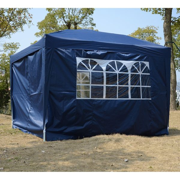 Outsunny 10'x10' Outdoor Pop Up Party Tent Wedding Gazebo Canopy with Carrying Bag (Blue) | Aosom Canada