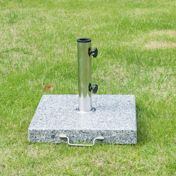 "Outsunny 16.5"" Marble Umbrella Stand Market Square Heavy Holder Base w/ Wheels