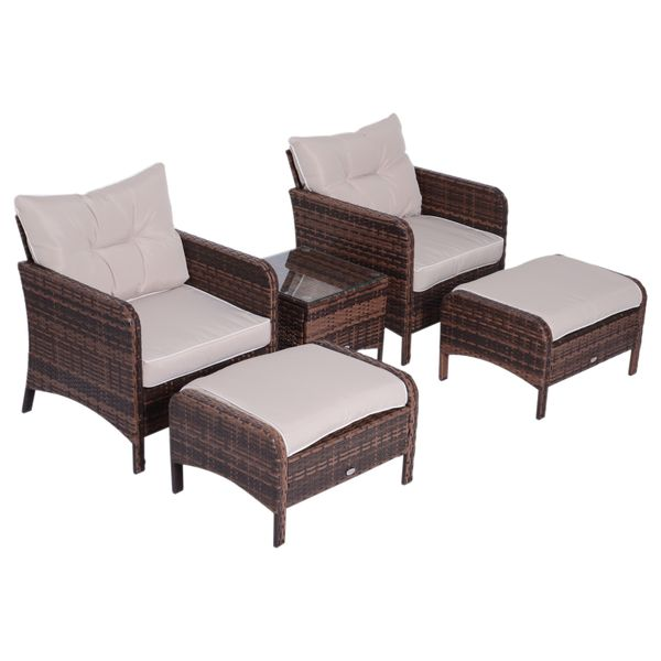 Outsunny 5 Piece Outdoor Patio Furniture Set All Weather Wicker Conversation Set Footrest Coffee Table Outside Deck w/ 2 Chairs  2 Footstool  & a Glass  Brown | Aosom Canada