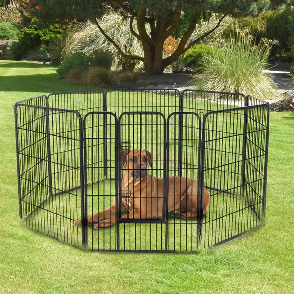 PawHut 8 Panel Pet Playpen 24-inch Indoor Outdoor Heavy Duty Iron Dog Exercise Pen Cat Fence Black | Aosom Canada