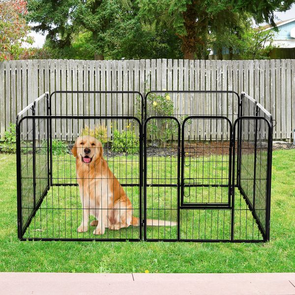 """PawHut 32"""" 8 Panel Cage Pet Playpen Octagon Rectangle Solid Heavy Duty Iron Indoor/Outdoor Dog Exercise Pen Cat Fence Black   Aosom Canada"""