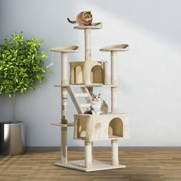 """PawHut Scratching Cat Tree 71"""" Kitty Condo Multi Level Play Post Activity Center Furniture with Toys Beige 