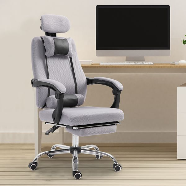 Vinsetto Ergonomic Executive Office Chair Lumbar Support w/ Footrest Grey | Aosom Canada