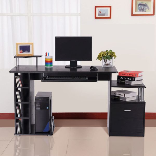 HOMCOM Computer Desk PC Workstation Storage Organizer w/ Keyboard Tray Black | Aosom Canada