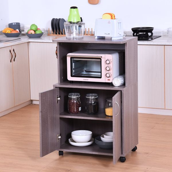 HOMCOM Kitchen Carts&Islands:Microwave Cart on Wheels with Storage Shelf and Cabinet Grey Wood Grain Color|Aosom Canada