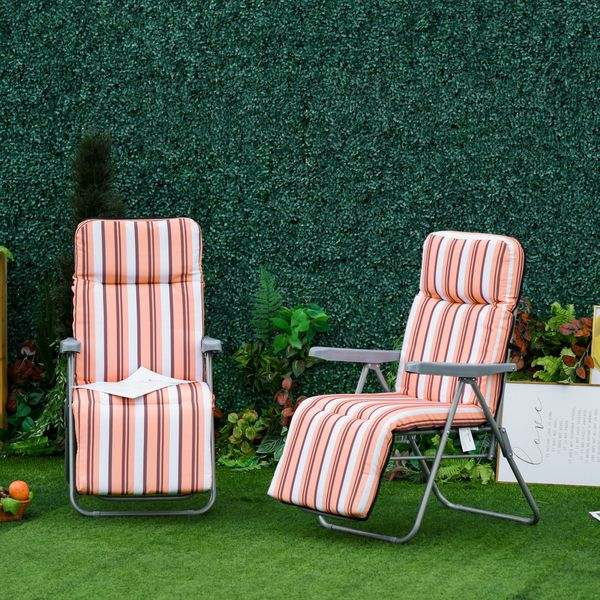Outsunny Set of 2 Garden Sun Lounger Outdoor Reclining Seat Cushioned Seat Foldable Adjustable Recliner Grey Frame Orange