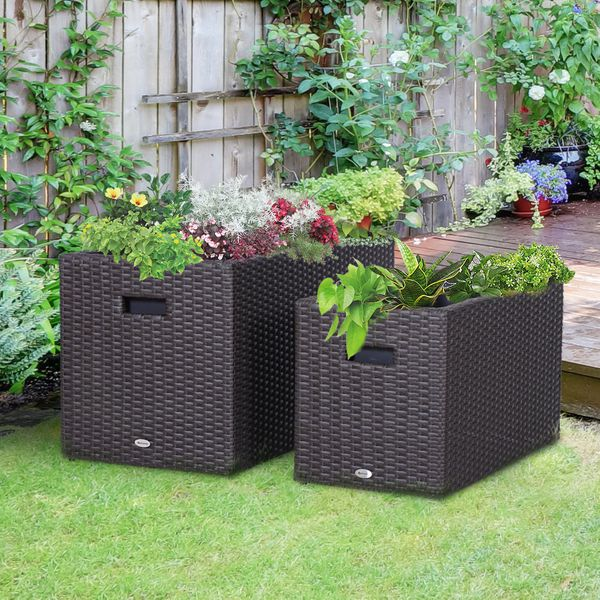 Outsunny 2 PCS Square Plastic Rattan Metal Flower Pot Indoor Outdoor Plants Box Seed Vegetables piece Plant|AOSOM.CA