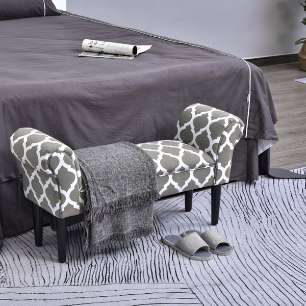 """HomCom 40"""" Deluxe Fabric Bed Bench Bedside Bench Footstool with Arms End of Bed Furniture, Grey 