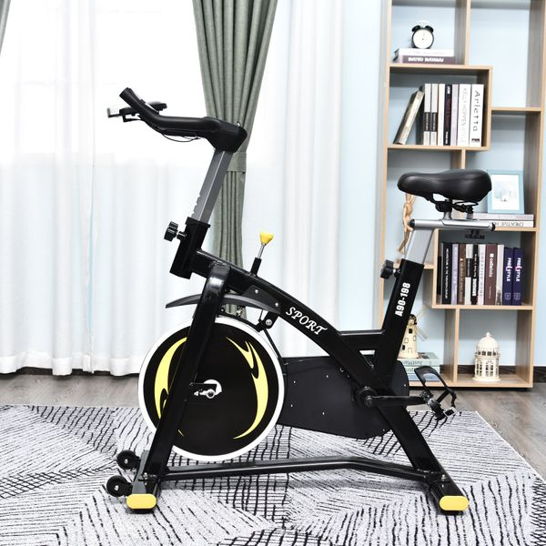 Soozier Exercise Bike Stationary Belt Drive Bicycle Magnetic Resistance Adjustable with LCD Monitor Indoor Cycling Bike for Home Gym Cardio Workout Upright | Aosom Canada