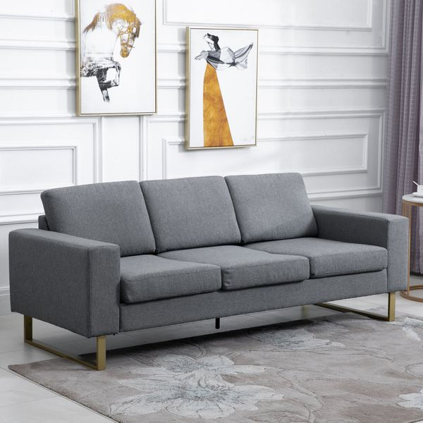 HOMCOM Modern Three Seat Cozy Sofa Linen Upholstered Padded Couch with Steel Leg Backrest and Wide Armrest Grey|Aosom Canada
