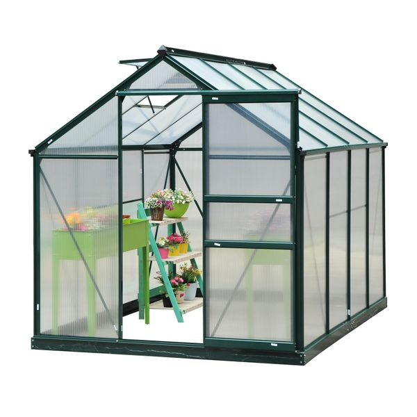 Outsunny 6'x8'x7' Walk-in Garden Greenhouse Polycarbonate Panels Plants Flower Growth Shed Outdoor Warm House Portable Aluminum Frame|Aosom Canada