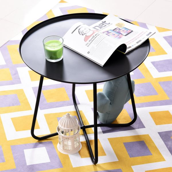 HOMCOM Iron Coffee Table Side Table Round Table Metal Frame Cross Legs Design Black|AOSOM.CA