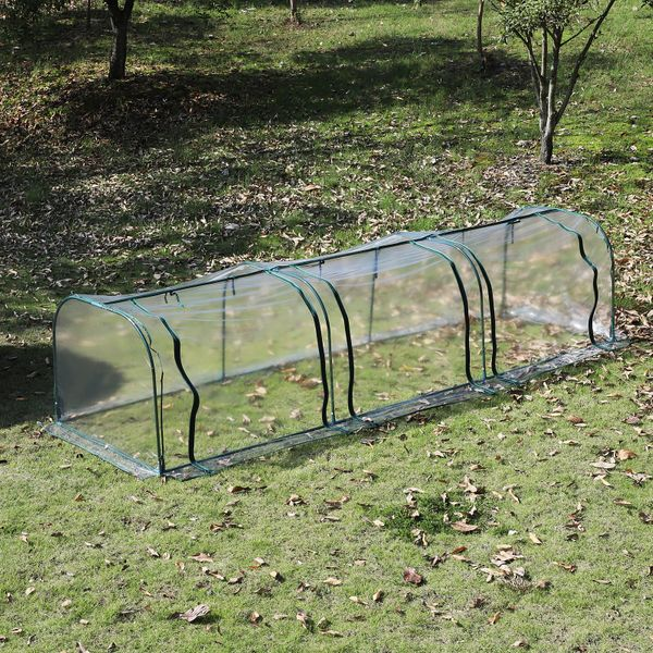 Outsunny Transparent PVC Tunnel Greenhouse Portable Steel Frame | Aosom Canada