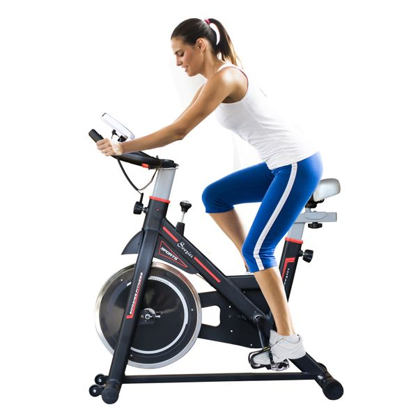 Soozier Upright Stationary Exercise Bike w/ LCD Monitor Indoor Cycling Bicycle Cardio Workout Trainer Black | Aosom Canada