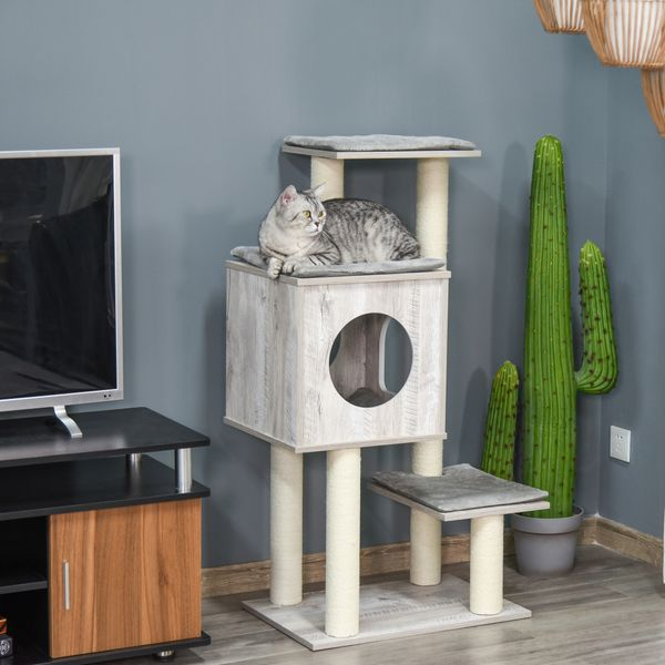 """PawHut 44.5"""" Deluxe Cat Tree Tower Activity Center Kitten Play House with Scratching Posts Condo Perch Cushion Grey w/ 