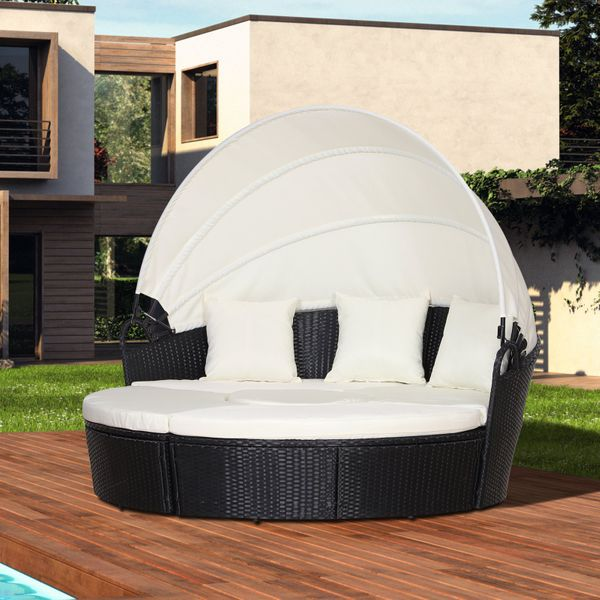 Outsunny 5 Piece Cushioned Outdoor Plastic Rattan Wicker Round Sofa Bed Coffee Table Sectional Patio Conversation Furniture Set - Black PCs | Aosom Canada