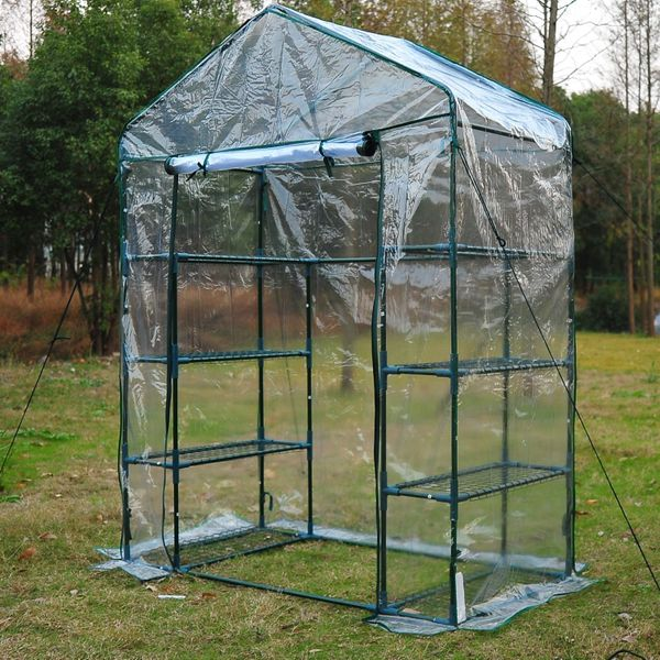 Outsunny 4.7x2.4x6.4ft Walk-in Greenhouse with 4 Tier Shelves Portable Transparent|Aosom.ca