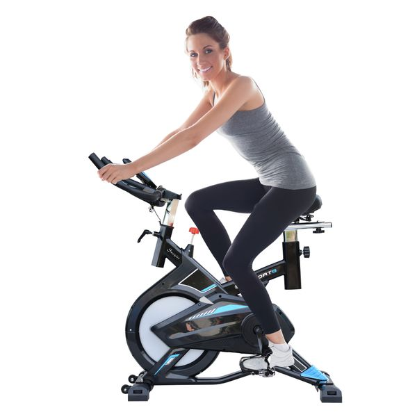 Soozier Stationary Exercise Bike Cardio Workout w/ LCD Monitor 28.6lb Indoor Cycling Bicycle Trainer Heart Pulse Sensor Flywheel | Aosom Canada